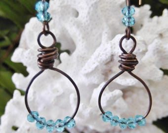 Antique copper wire earrings, light blue glass beads, wire wrapped, copper ear wires, made in Hawaii, FREE SHIPPING