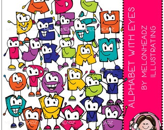 Alphabet with Eyes clip art - COMBO PACK