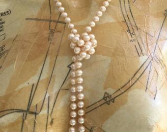 Vintage Opera Length Les Bernard Faux Pearl Necklace Long Designer Pearls