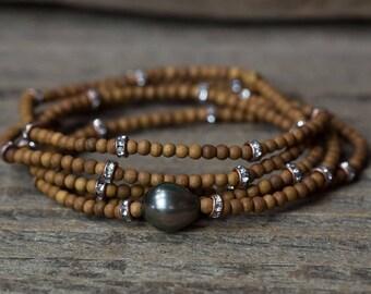 Tahitian Pearl Bracelet, Wrap Bracelet, Pearl Wrap Bracelet, Long Pearl Necklace, Beaded Wrap Bracelet, Long Beaded Necklace, Boho Jewelry