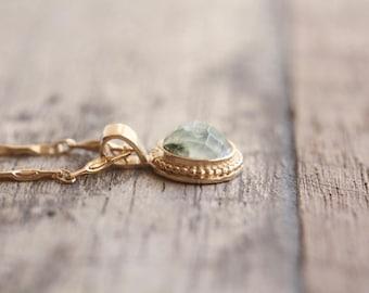 Green gemstone necklace, Gemstone pendant necklace, Dainty stone necklace, Gold gemstone necklace, Small pendant necklace, Prehnite necklace