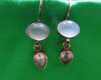 Vintage Silver Earrings, Hook Style, Stamped 925, Moonstone, Amethyst, Nice Condition