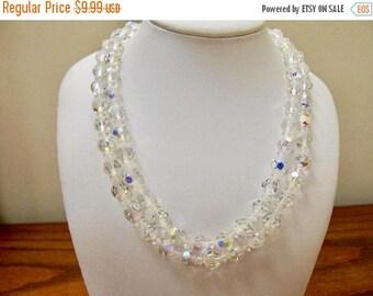 ON SALE Vintage Double Strand Aurora Borealis Crystal Necklace Item K # 182