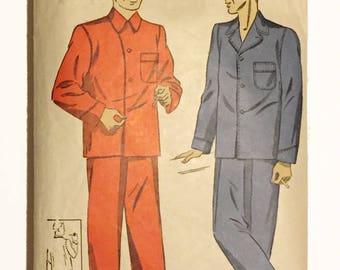 Vintage DuBarry 1940s men's pajamas sewing pattern