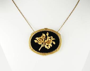 Edwardian large black onyx roses brooch necklace