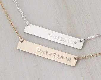 Name Bar Necklace in Silver or Gold - Personalized Bar Necklace - Custom Name Necklace - Name Plate Necklace