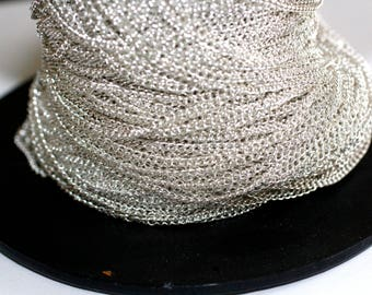 32ft Silver, 3x2mm Iron Twisted Chains Curb Chains,