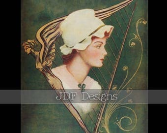 Instant Digital Download, Vintage Edwardian Graphic, Irish Lass with Harp & Shamrock Scroll, Printable Image, Scrapbook, St Patrick's Day