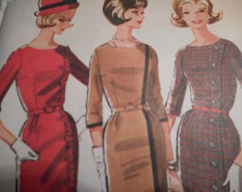 Vintage 1960's McCall's 6424 Dress Sewing Pattern Size 14 Bust 34