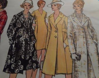 Vintage 1960's Vogue 2256 Basic Design Coat and Dress Sewing Pattern Size 10 Bust 32.5