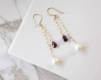 Gold Filled Long Cascading Garnet and Freshwater Pearl Earrings. Long Earrings, Garnet Gemstone