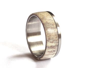 Deer Antler Wedding Ring, Mens Titanium Wedding Band, Stainless Steel Ring, Deer Antler Wedding Band