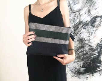 Green Leather and grey linen clutch, bag, leather bag, leather clutch, linen clutch, clutch, small bag