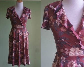 1970s Fitted Floral Ruffle Front Dress - XS 70s Day Dress