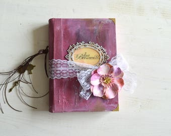 Wedding guest book, handmade diary journal, boho wedding album, vintage wedding, photo album, junk journal