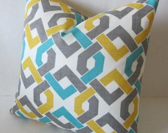 Geometric Pillow Cover, Outdoor Pillow, Retro Pillow, Modern Pillow, Blue Gray Gold Pillow, Morocco Pillow, Moroccan Pillow, Accent Pillow