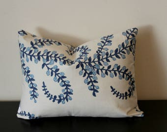 Decorative Pillow Prasana in Bluebell Cover,Lumbar Pillow Cover,Toss Pillow,Throw Pillow made from Duralee John Robshaw, 12x16, 12x18