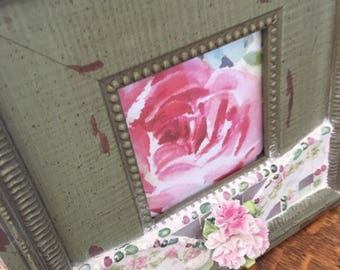 JUNE SALE VINTAGE China Mosaic Picture Frame-  Limoges China - Porcelain Pink Flowers - Shabby Olive Green Frame - Pink Floral Limoges China