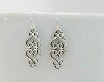 Double heart filigree earrings, simple silver dangle earrings