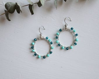Hoop beaded earrings, teal beaded earrings, turquoise beaded earrings, hoop earrings, wire wrapped earrings, seed bead earrings