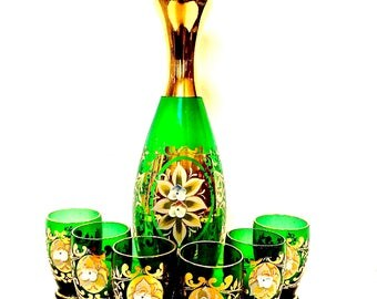 Mid Century Bohemian Decanter and 6 glass Liquer Set, Emerald and  Enameled Flowers 22K