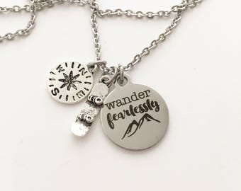 Snoboarding, compass, wander fearlessly Personalized charm necklace