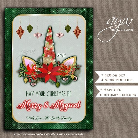 unicorn christmas card printable holiday greeting card elegant