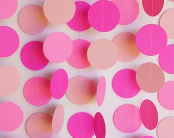 PINK Birthday Party Decorations, Pink Paper Garland, Girl's Birthday Party, Pink Circle Garland, Pink Baby Shower