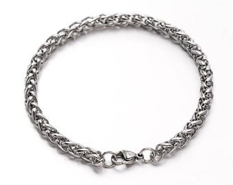 5pc Stainless Steel Wheat Chain Bracelets-5786i