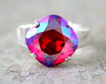 Shimmering Cherry | Swarovski Ring | Swarovski Crystal | Cushion Cut | Square Ring | Wedding Jewelry | Beach Jewelry | Gift Idea | Rainbow