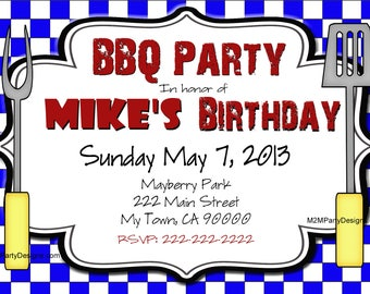BBQ Invitations Printable Barbecue Party Invites Personalized Adult Party Picnic Party