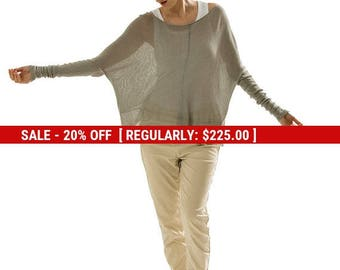SALE Gray sheer Bamboo Oversized top ,Transparent knitted Oversized shirt,Grey long sleeve blouse