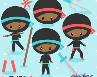 INSTANT DOWNLOAD - Dark Skin Ninja Party Clipart and Vectors for personal and commercial use