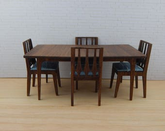 1:12 Scale Mid-Century Modern Broyhill Brasilia Inspired Wooden Dining Set