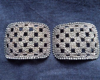 Vintage Cut Steel Shoe Buckles Made In France
