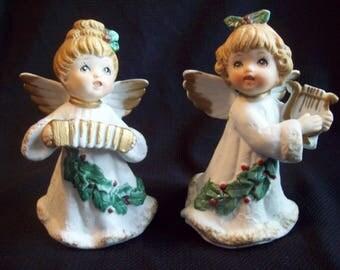 Vintage Christmas Angel Figurines 1970s Homco 5252 Angel with Harp Angel with Accordion