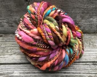 Handspun Yarn, Art Yarn, Bulky, Thick and Thin, 2 Ply, Wool, 8 ounces, Fun Times