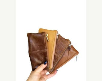 ON SALE Brown Distressed Leather Pouch Bag, Small Purse, Fashion Mini Cosmetic Bag, Rustic Leather Coin Bag, Maria