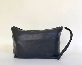 ON SALE Black Leather Clutch Bag with wrist strap, Fashion Wristlet, Trendy Pouch, Weekend Purse, cosmos