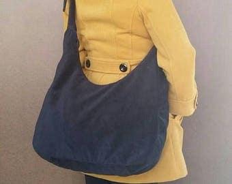 ON SALE Large Black Crossbody Sling Purse - everyday shoulder bag for her - Casual velvet bag - marion