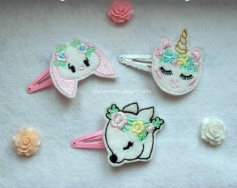 Cute embroidery hair grips clips bows unicorn, rabbit or deer