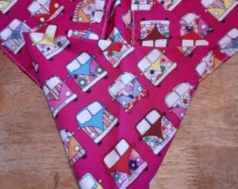 "A hand made dog bandana cerise pink campervan size 20"" x 9.5"""