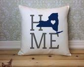 New York Pillow, New York State Pillow, New York Home Pillow, Housewarming Gift, New York home decor, New York Custom Pillow, New York Gift