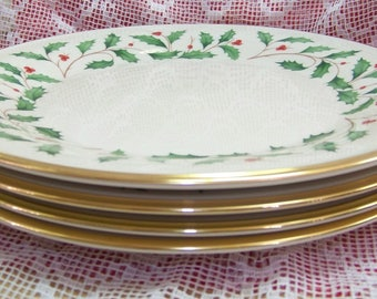 4 Lenox Holiday Dimension Dinner Plates 24 K Gold Trim Holly Berries