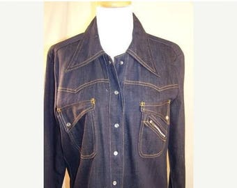 60% OFF Clearance Sale Vintage 60's Denim Buckle Back Shirt Sears Like New