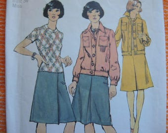 vintage 1970s simplicity sewing pattern 6150 misses one piece dress and unlined jacket size 12
