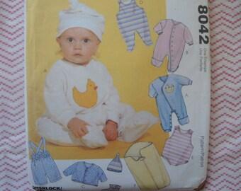 vintage 1990s sewing pattern McCalls 8042 Infants' and preemie layette UNCUT size P-NB-S-M-L