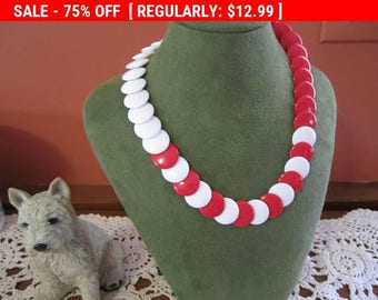 SALE Red and white bead choker necklace, hippie, boho, estate jewelry