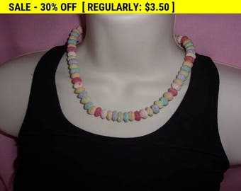 Pastel choker necklace, hippie necklace, bead necklace