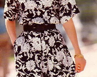 FF Butterick 4953 Easy Misses' Loose Fitting Pullover Dress Flared Skirt Sewing Pattern, Size 6-8-10-12-14, Bust 30 1/2-36, See & Sew, UNCUT